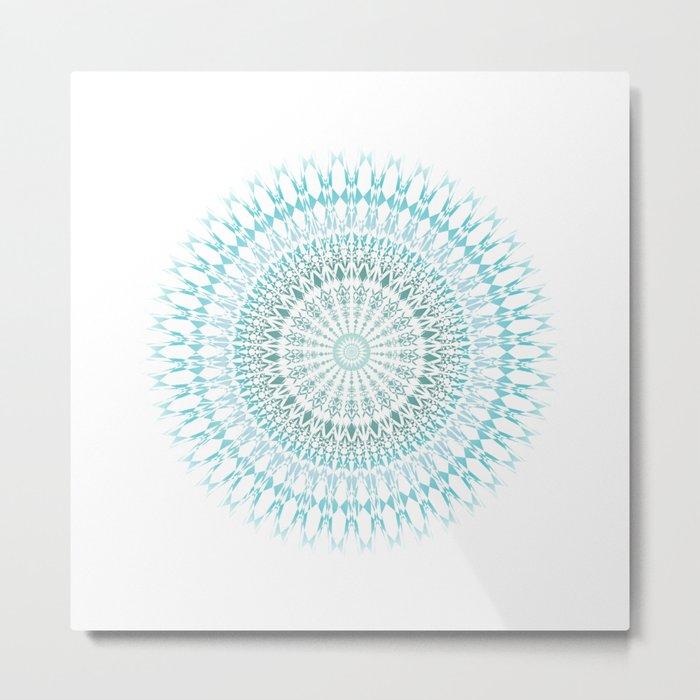 Turquoise White Mandala Metal Print