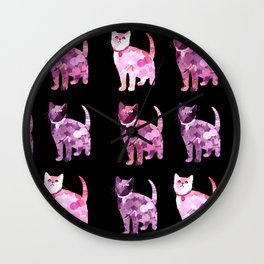 Black and pink cat pattern Wall Clock