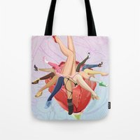 shoe Tote Bags featuring Shoe Love by Wendy Ding: Illustration