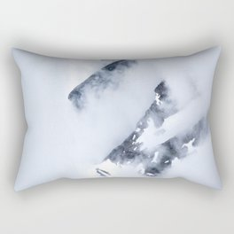 Minimalist MIsty Foggy Mountain Twin Peak Snow Capped Cold Winter Landscape Rectangular Pillow