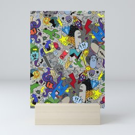 CARTOON GRAFFITI GREY Mini Art Print