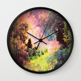 Fantasy Garden Path Deep Pastels Wall Clock