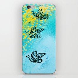 Teal Sky Tangerine Petals iPhone Skin
