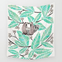 Happy Sloth – Tropical Mint Rainforest Wall Tapestry