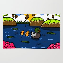 Ducks in a Pond with Lily Pads Rug