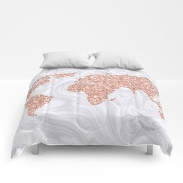 Rose Gold Glitter World Map on White Marble Comforters