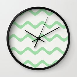 Pastel Green Soft Rippled Horizontal Line Pattern on Linen White 2020 Color of the Year Neo Mint Wall Clock