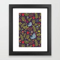 Folk birds.  Framed Art Print