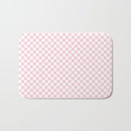 Light Soft Pastel Pink and White Checkerboard Bath Mat