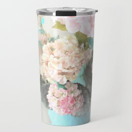 Shabby Chic Hydrangea Flowers Pink White Aqua Blue Travel Mug