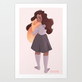 Hermione and Crookshanks Art Print