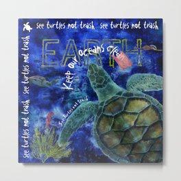 Clean Ocean Sea Turtle Art Metal Print