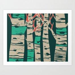 Whimsical birch forest landscape wall art Art Print