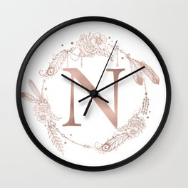 Letter N Rose Gold Pink Initial Monogram Wall Clock