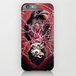 Black Raven Bird with Mice Skulls and Fruit iPhone Case