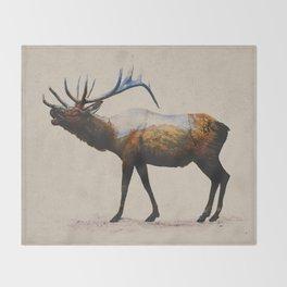 The Rocky Mountain Elk Throw Blanket