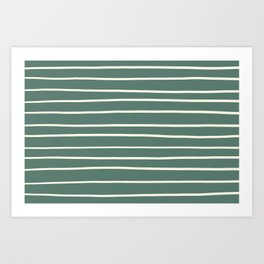 Dover White 33-6 Hand Drawn Horizontal Lines on Thistle Green 22-18 Art Print