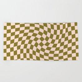 Check VI - Green Twist — Checkerboard Print Beach Towel