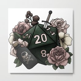 Rogue Class D20 - Tabletop Gaming Dice Metal Print