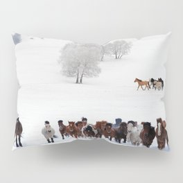 Horses running on the snow Pillow Sham