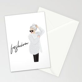 Girl in fluffy fur Stationery Cards