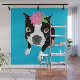 Boston Terrier Illustrated Print Wall Mural