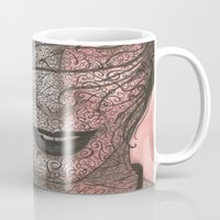 no face Mugs featuring Face  by Kate Allison