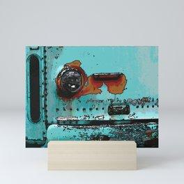 Old blue transit bus Mini Art Print