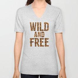 Wild And Free Leopard Fur Leopard Pattern T Shirt Present Unisex V-Neck