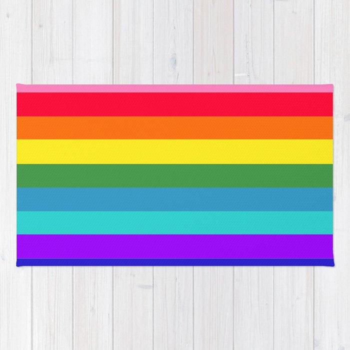 Vibrant Rainbow Stripes Rug