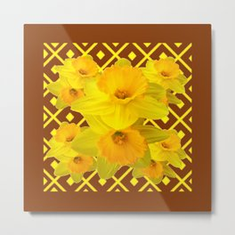 Coffee Brown Pattern of Golden Daffodils Art Metal Print