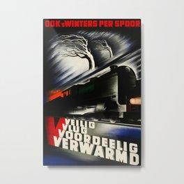 Ooks Winters per Spoor 1938 Vintage Travel Poster Metal Print