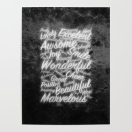 Grey positive word cloud by Brian Vegas Poster