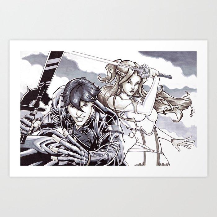 Sword Art Online - Kirito & Asuna Art Print