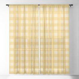 Gingham Pattern - Yellow Sheer Curtain