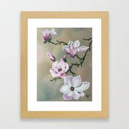 Japanese Magnolia Blooms Framed Art Print