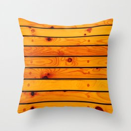 Brown wooden ship deck Throw Pillow