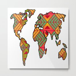 World Map African Print Metal Print