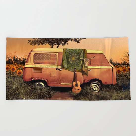 summer sunset landscape with skull and guitar Beach Towel