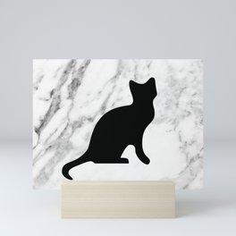 Marble black cat Mini Art Print