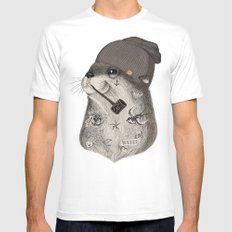 OTTER X-LARGE White Mens Fitted Tee