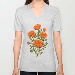 Marigold Flowers Unisex V-Neck