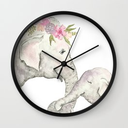 Elephant Mother and Baby Watercolor Wall Clock