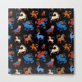 Magic unicorn and gryphon. Medieval fantastic beasts Metal Print