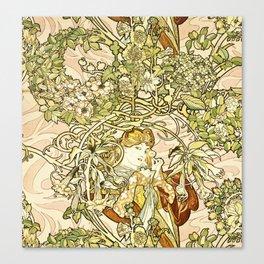 Alphonse Mucha  -  Lady With Daisy Canvas Print