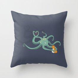 Octopus Loves Kitty Throw Pillow
