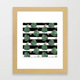 Tropical leaves pattern on stripes background Framed Art Print