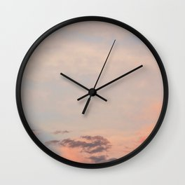 Blue Sky with Orange Clouds Wall Clock