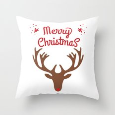 oh deer, merry christmas Throw Pillow