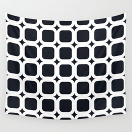 RoundSquares White on Black Wall Tapestry